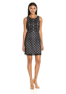 kensie Women's Graphic Geo Lace Dress