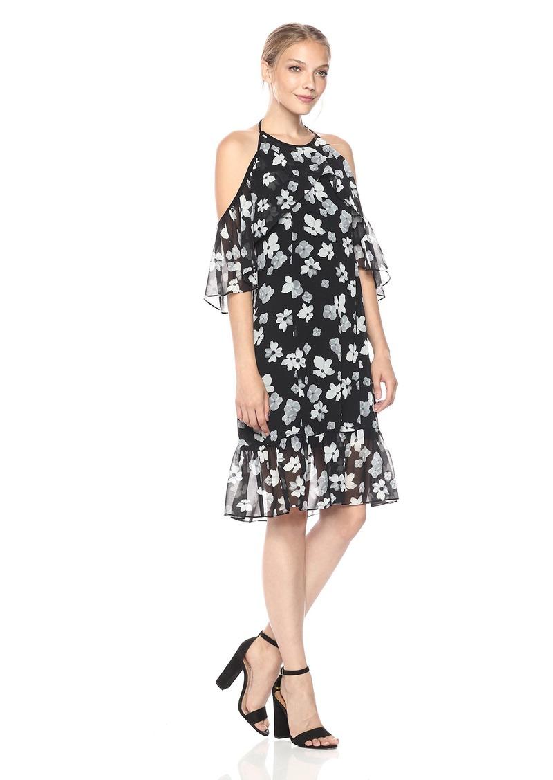 kensie Women's Halter Floral Print Cold Shoulder Dress