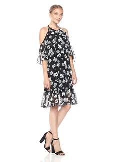Kensie Women's Halter Floral Print Cold Shoulder Dress  L