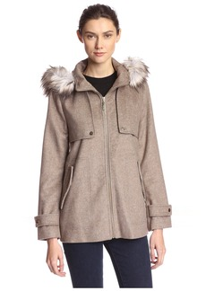 kensie Women's Hooded Coat with Faux Fur  M