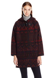 kensie Women's Hooded Printed Wool Poncho with Toggle Closure  S