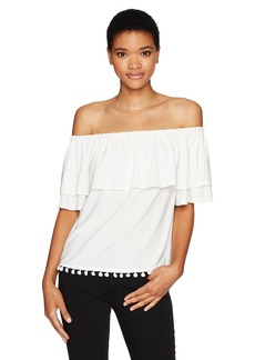 Kensie Women's Knit Off the Shoulder Top Pom Hem  S