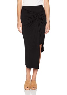 kensie Women's Knot Wrap Asymmetrical Knit Skirt  L