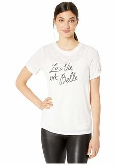kensie Women's La Vie est Belle Graphic Tee  L
