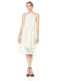 Kensie Women's Lace Fit and Flare Midi Dress  M