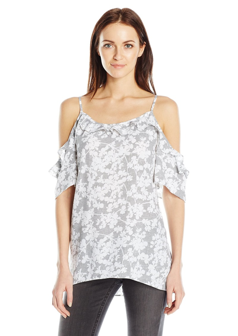 kensie Women's Layered Orchids Cold Shoulder Top  L