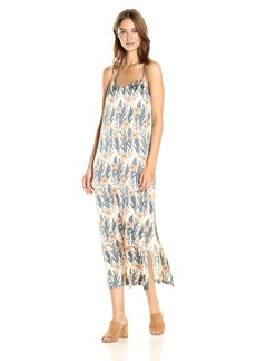 kensie Women's Leafy Vines Shiny Polyester Slip Maxi Dress  M