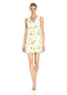 Kensie Women's Lemon Tree Design Dress with Cut Out  L