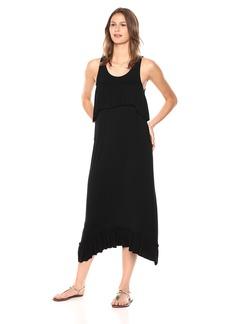 kensie Women's Light Weight Viscose Jersey Ruffle Maxi Dress  XL