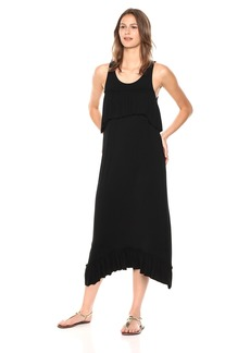 kensie Women's Light Weight Viscose Jersey Ruffle Maxi Dress  XL