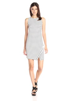 kensie Women's Light Weight Viscose Spandex Stripe Dress with Slit