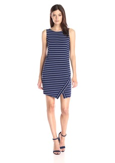 Kensie Women's Light Weight Viscose Spandex Stripe Dress with Slit  M