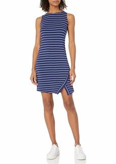 kensie Women's Light Weight Viscose Spandex Stripe Dress with Slit  L