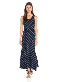 Kensie Women's Light Weight Viscose Spandex Stripe Maxi Dress with Tie