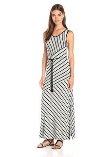 Kensie Women's Light Weight Viscose Spandex Stripe Maxi Dress with Tie