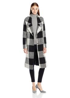 Kensie Women's Long Blanket Plaid Wool Coat with Notch Collar  M