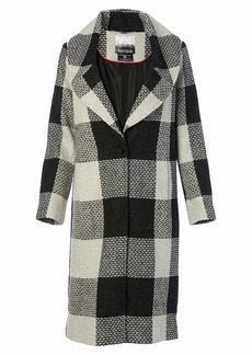 kensie Women's Long Blanket Plaid Wool Coat With Notch Collar  XS