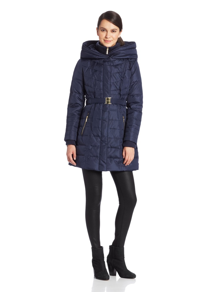 kensie Women's Long Down Coat Hood