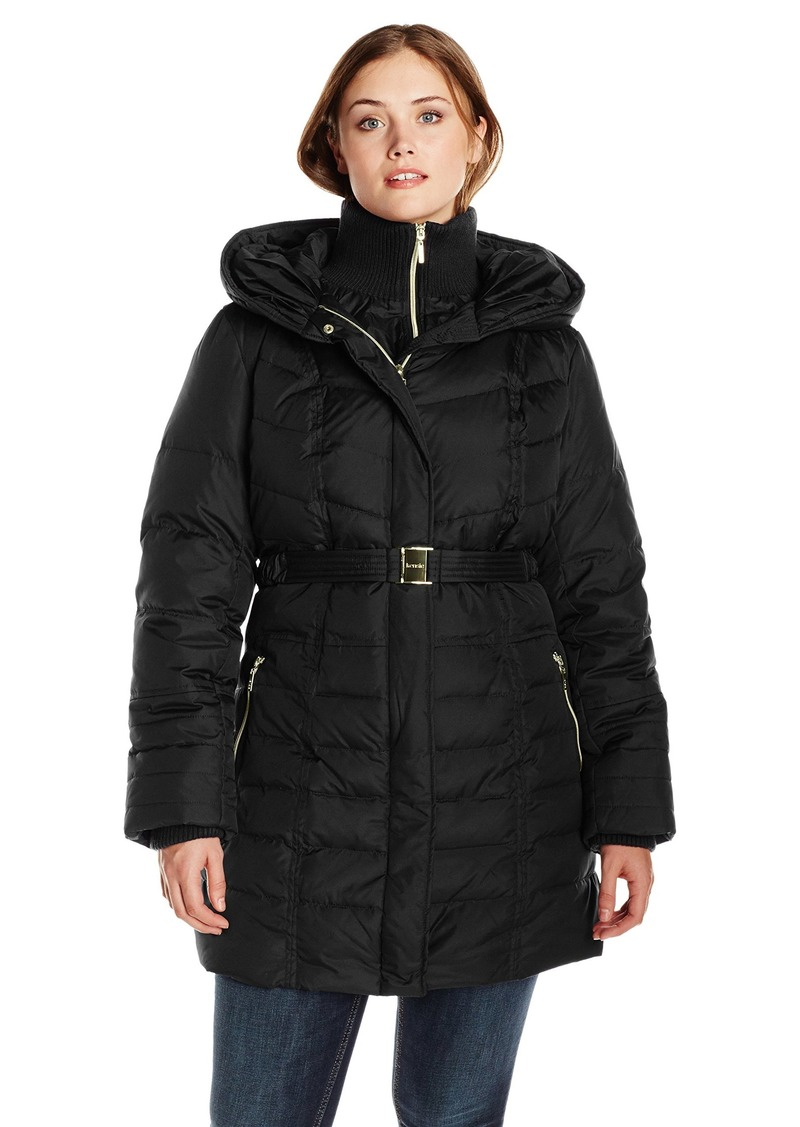 Kensie Women's Long Down Coat with Hood Plus