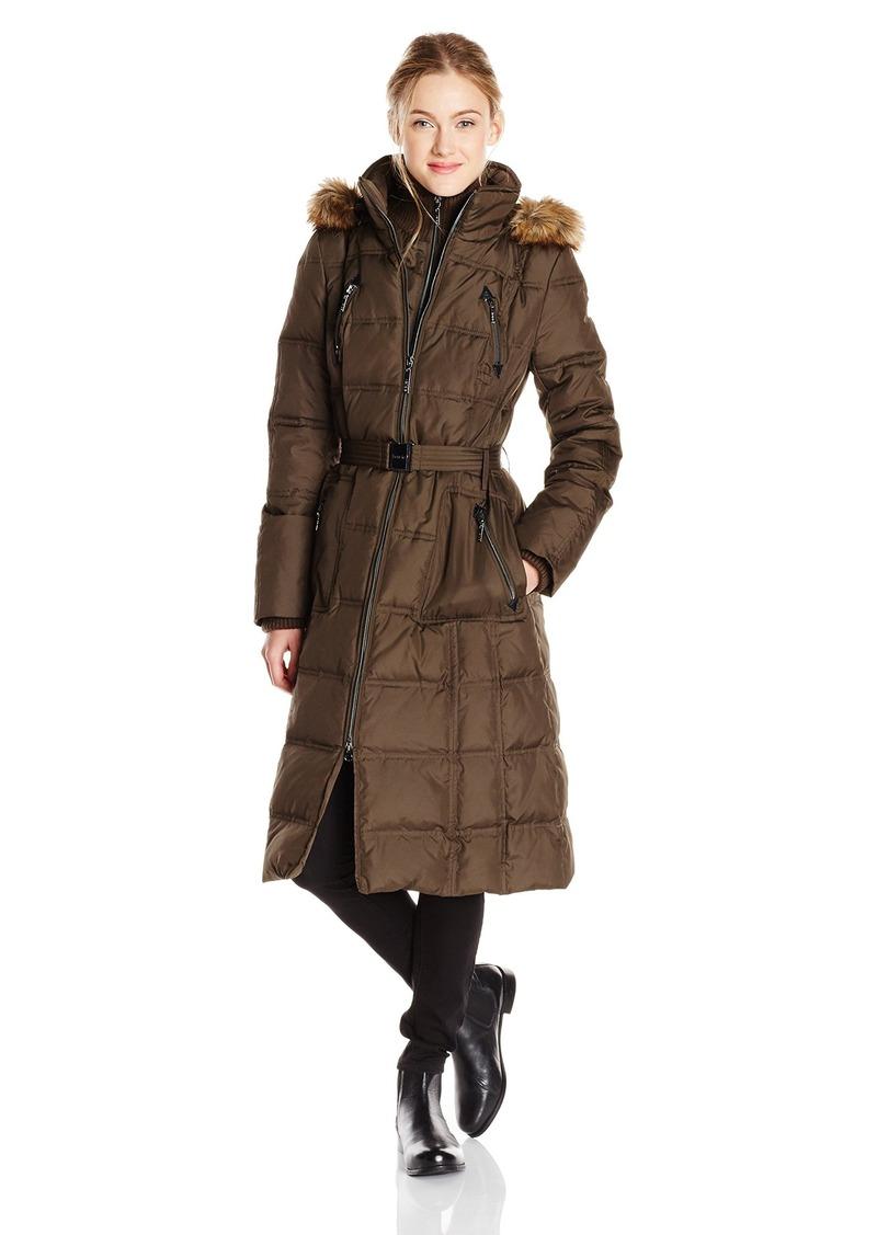 79da5769a Women's Long Maxi Down Coat with Faux Fur Trim Hood