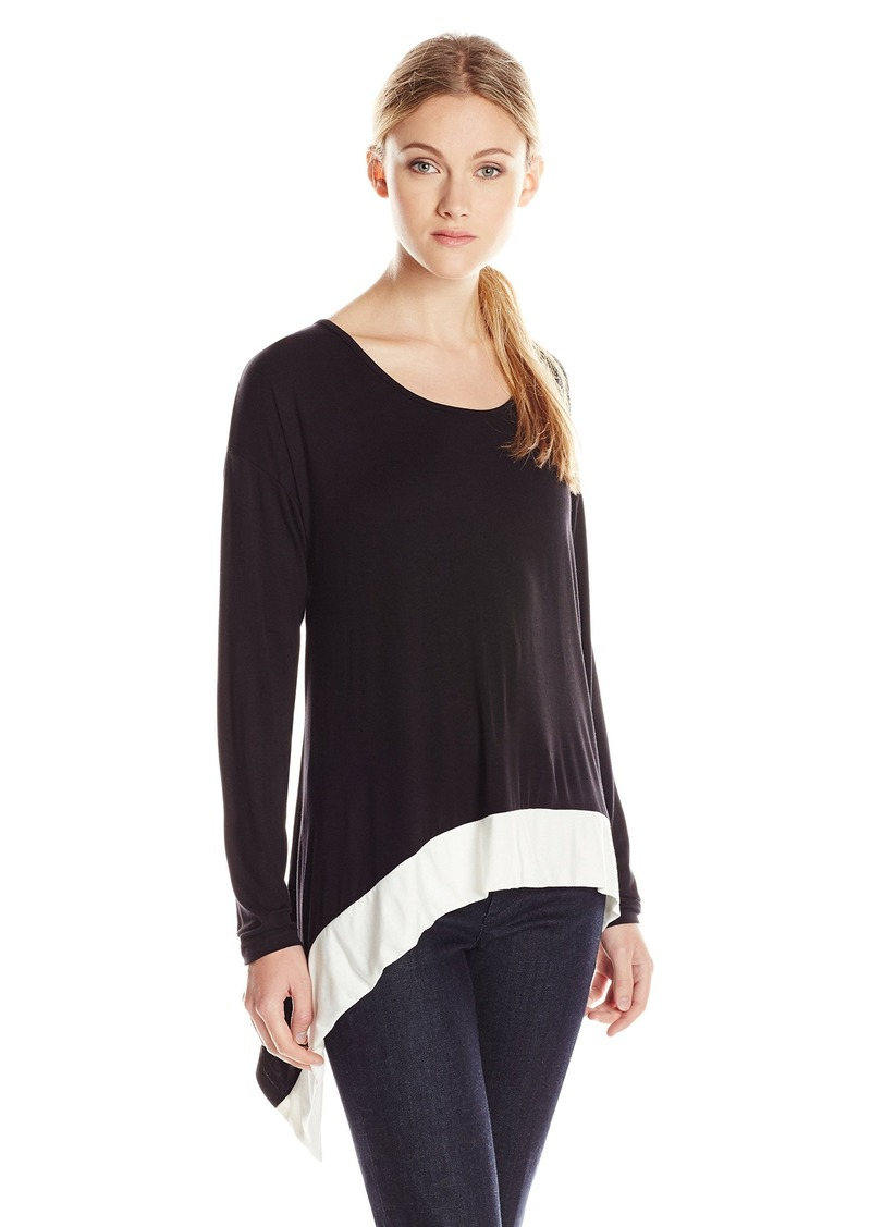 Kensie Women's Long Sleeve Color Block Top  Large