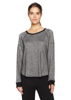 kensie Women's Long Sleeve Marled Top Black/White M