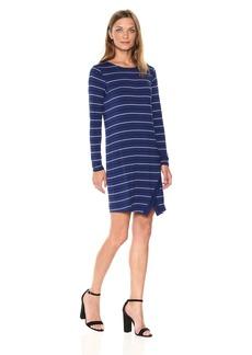 kensie Women's Long Sleeve Viscose Spandex Stripe Dress  L