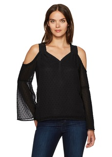 Kensie Women's Looped Swiss Dots Cold Shoulder Top  M