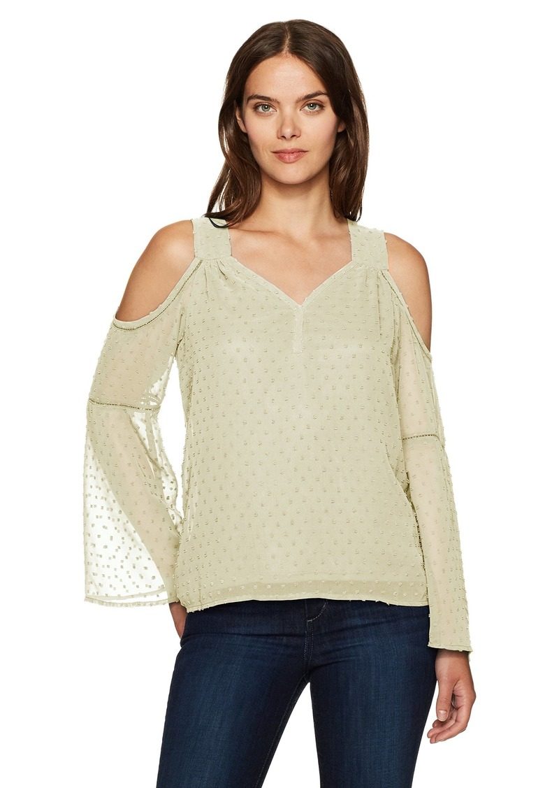 kensie Women's Looped Swiss Dots Cold Shoulder Top tusk S