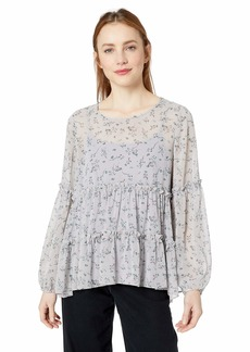 kensie Women's Loose Floral Top  L