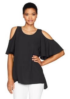 Kensie Women's Luxury Crepe Cold Shoulder Top  S