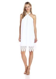 kensie Women's Luxury Crepe Halter Lace Dress  L