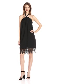 Kensie Women's Luxury Crepe Halter Lace Dress  L