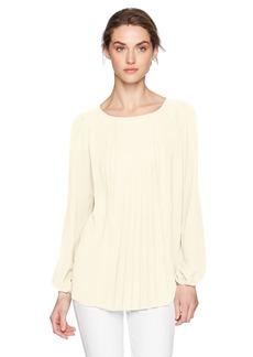 Kensie Women's Luxury Crepe Long Sleeve Pleated Top  M