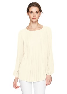 kensie Women's Luxury Crepe Long Sleeve Pleated Top tusk S