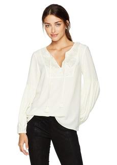 kensie Women's Luxury Crepe Long Sleeve Tassel Top  M