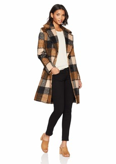 kensie Women's MID Length Notch Collar Wool Coat  Extra Large
