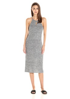 Kensie Women's Midi Ribbed Dress with a Keyhole  L