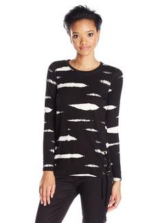 Kensie Women's Mini Animal Stripe Sweatshirt  L