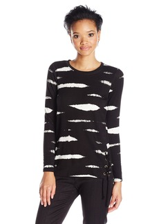 Kensie Women's Mini Animal Stripe Sweatshirt  S
