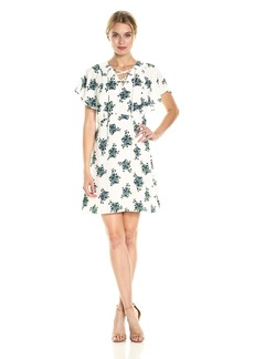 kensie Women's Mini Bouquet Floral Design Dress with Ruffled Sleeves  L