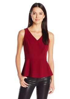 Kensie Women's Mini Checker Crepe Peplum Top  X-Small