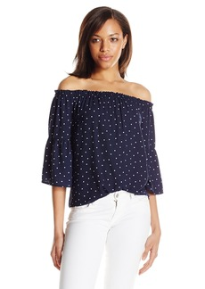 Kensie Women's Mini Dots Printed Off Shoulder Top  XS