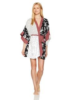 kensie Women's Mixed Print Kimono Robe  L/XL