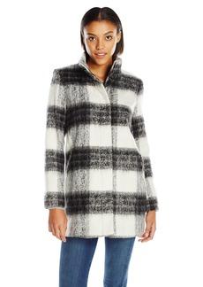 kensie Women's Mohair Wool Stand Collar Blanket  Coat XL