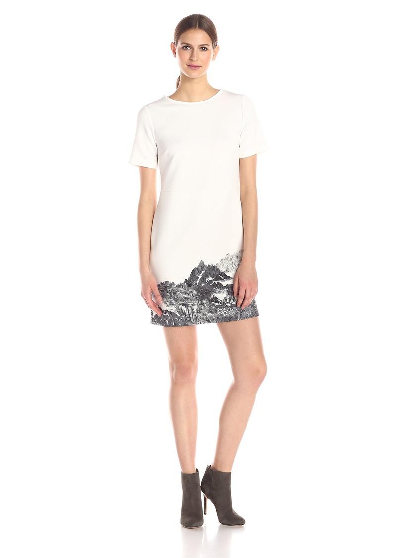 kensie Women's Mountain Scape Printed Short Sleeve Dress