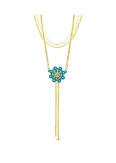 Kensie Women's Rhinestone Flower Design Triple Layered Lariat Style Herringbone Chain Necklace