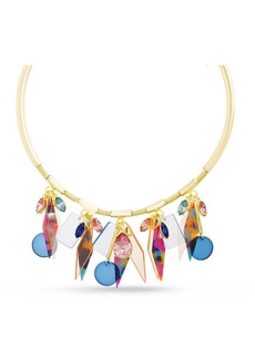 Kensie Women's Rhinestone Retro Design Choker Dangle Charm Necklace