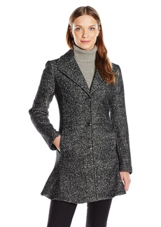 Kensie Women's Notch Collar Boiled Wool Skirted Coat  M