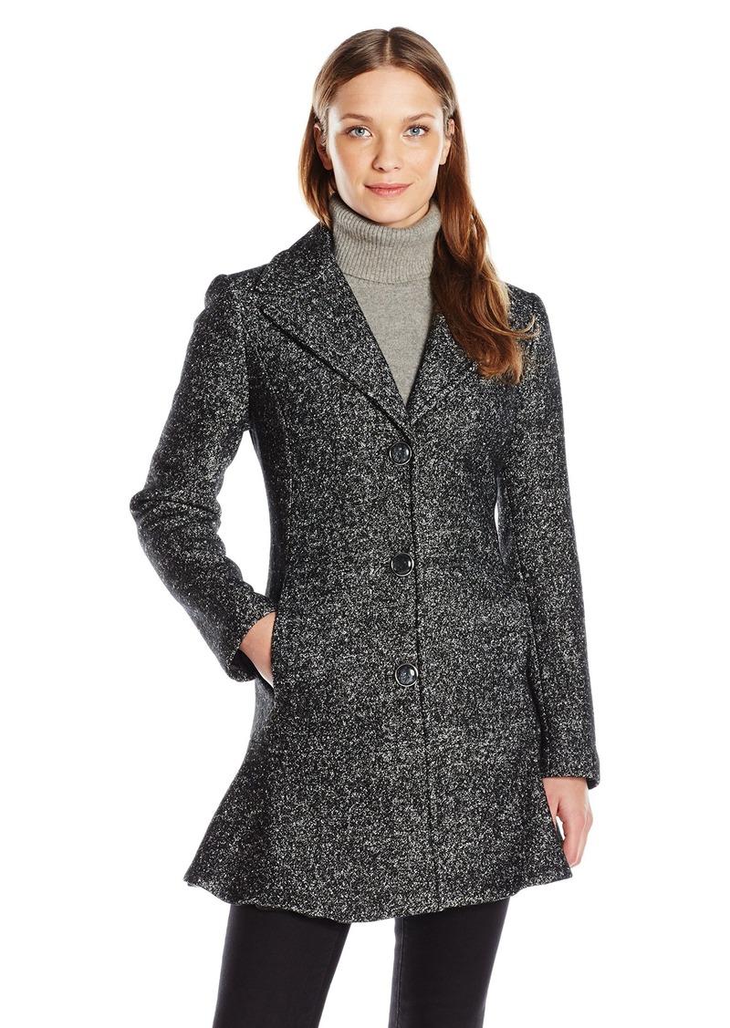 kensie Women's Notch Collar Boiled Wool Tweed Skirted Coat  M